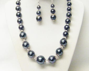 Graduated Smoke Glass Pearl Choker Necklace/Bracelet/Earrings