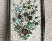 Antique Button Art Bouquet in Aqua ----Reserved for Merrie