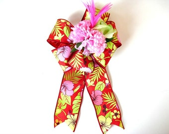 Large tropical birthday bow, Gift wrap bow, Bow for anniversaries, Floral gift bow, Gift basket bow, Bow for wreaths,  Home decor (HB106)