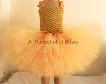 Gold Tutu Dress Flower Girl Dress