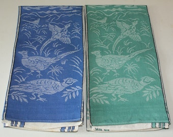 Pair of Vintage Linen/Cotton Dishtowels - Pheasants