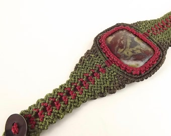 Macrame Bracelet, Macrame Cuff,  Dragon Blood Jasper, Dragon Scales