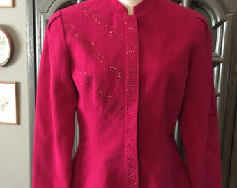 80s Does 40s Rhinestoned Raspberry Wool Jacket