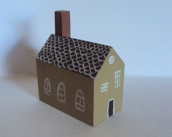 Miniature Folk Art House - Tiny Folk Cottage - Little Wooden Village Figurine - Decorative Wood Houses - Handpainted Rustic Minimalism Decor