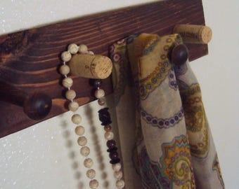 Reclaimed Wood Wall Rack - Rustic Chic Scarf Rack - Jewelry Display Organizer - Wooden Towel Rack - Hallway Hat Rack w/Hat pegs & Wine corks