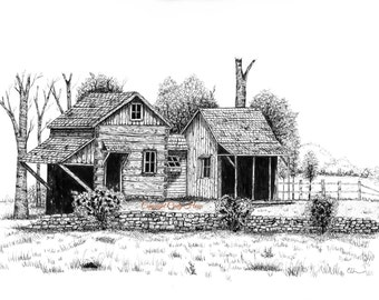 Pen and Ink, country, landscape, cabins, from original pen and Ink