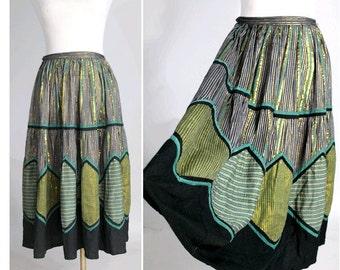 1970s René Dehry lamé full circle  Skirt I 70s bohemian gold stripes skirt