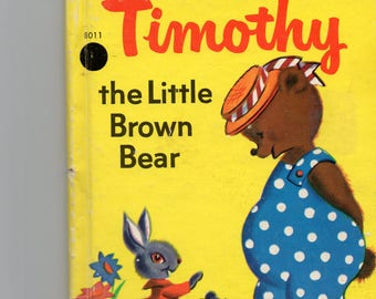Vintage Junior Elf Book 1967 Timothy the Little Brown BearWritten/Illustrated  by Jane Flory Cute Story of Bear and School w/Great Artwork!