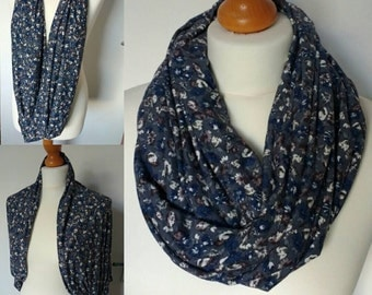 Blue floral jersey infinity/ circle scarf