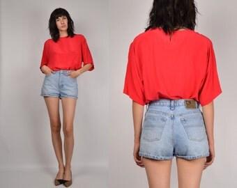Vintage Ralph Lauren High Waisted Denim Cuffed Shorts blue jean