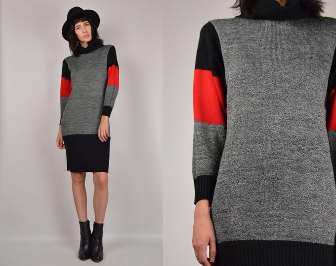 80's Midi Sweater Dress turtle neck
