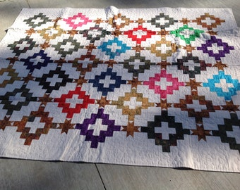 White Marble Quilt, 60x73 inches, lap quilt, couch quilt, tonal colors, red, brown, blue, batiks, handmade, off white, materialthings2