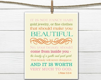 Bible Verse Christian Art  Print 1 Peter 3:3-4 Beauty - 11x14 CANVAS PRINTING AVAILABLE