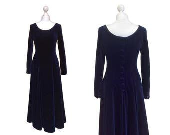 Midnight Blue Velvet Laura Ashley Dress - Button Back / Cuffs - Collectable Vintage Evening Dress - Gown / Prom / Riding Dress
