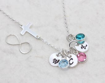 Personalized infinity Necklace. custom birthstones and initial. Mother Necklace, family birthstone. anniversary, Mother's infinity necklace