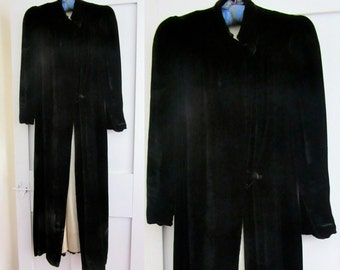 30s Black Velvet Opera Coat - Maxi - Vintage Long Velvet - Floor Length - Satin Lining - 20s