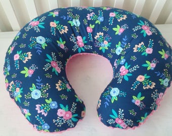 Navy Floral Boppy Cover With Personalization Option