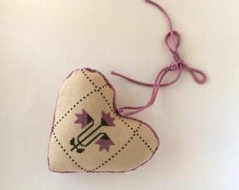 Vintage Cross Stitch Heart Pillow, Ornament, Lavender & Eggshell