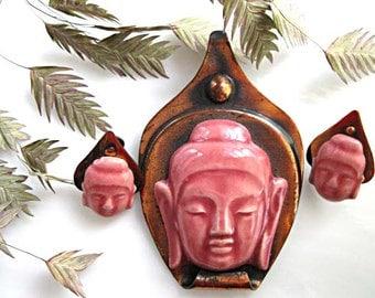 Oriental Buddha Asian Brooch, Elzac Ceramic on Oxidized Copper, Bali Temple God Image, Porcelain China, Screwback Earrings