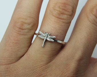 Dragonfly ring - Sterling silver ring '' Dragonfly '' Stacking ring - knuckle ring - midi ring  - delicate ring - dragonfly jewellery