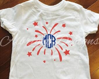 Fireworks monogram 4th of July shirt, Toddler 4th of July shirt, Patriotic shirt, Independence Day shirt