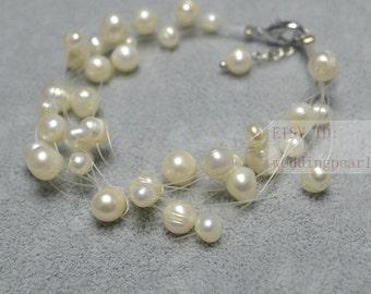 Floating Bracelet,Illusion Bracelet, multi-strand pearl Bracelet,10 strands genuine pearl bracelet,ivory white freshwater pearl bracelet