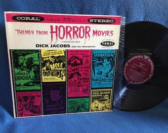 """RARE Vintage, """"Themes From Horror Movies"""" Vinyl LP Record Album, Original First Press, Halloween, Dracula, Universal Monsters, Dick Jacobs"""
