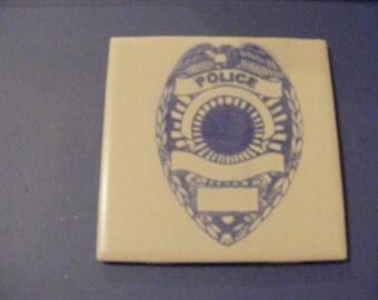 "Laser engraved 4.25"" x 4.25"" Square ceramic tile Police Logo for Coaster or Plaque"