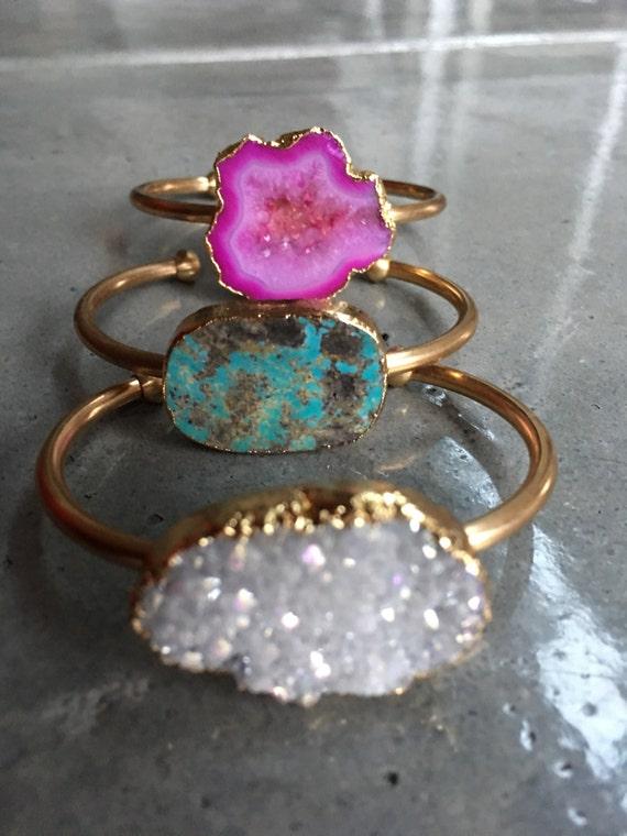 Druzy bracelets, geode bracelet, turquoise bracelet, boho jewelry