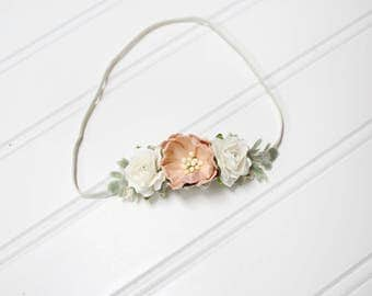 Peach for Your Dreams  - beautiful dainty and simple flower headband in cream and peach (RTS)