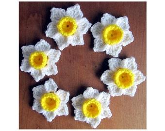 Crochet Flower Pattern / Daffodil Narcissus Jonquil Pattern  /  Daffodil Flower Applique / Crochet Jonquils / Crochet Daffodil Pattern