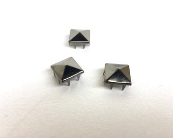 50 Square Studs - Silver Tone (Pack of 50) - DIY/Crafts (005DIY)