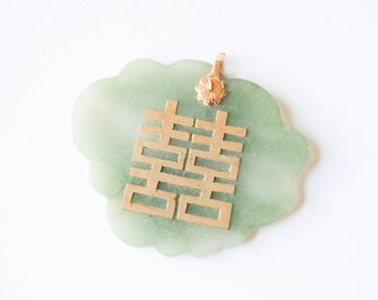 Jade and yellow gold Asian stone pendant | Green jade necklace | Necklace pendant |