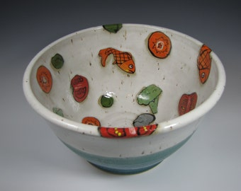 Large Pottery Bowl, Large Pottery Fruit Bowl, Pottery Salad Bowl, fish Turquoise Teal Wedding Gift