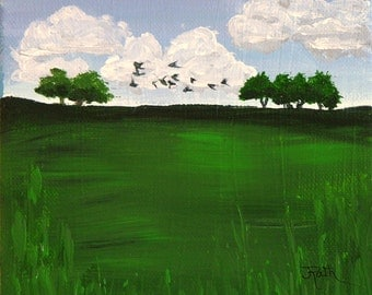 "Original Acrylic Painting, ""Summer Trees"",  green, grass, trees, clouds, birds"