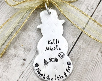 Snowman Ornament Personalized - Worth Melting For Ornament - Personalized Christmas Ornament - Kids Ornament - Hand Stamped Ornament