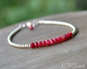 Delicate Ruby Beaded Bracelet With Silver Tone Seed Beads Thin Skinny Simple Jewelry July Birthstone Red Stacking Bracelet Gift For Her