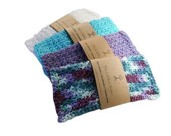 Organic Washcloths, Set of 4, Organic Cotton, Eco Friendly, Washcloths, Washcloth Set, Organic, Cotton, Cotton Washcloth, Crochet Washcloth