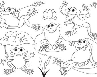 50% OFF SALE Frog Clipart - Digital Vector Frog, Black and White, Lily, Frogs, Pond, Frog Clip Art