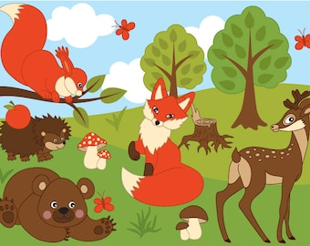 70% OFF SALE Woodland Animals Clipart - Digital Vector Fox, Squirrel, Bear, Rabbit, Animal Clip Art