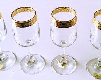 Mid Century Cellini Crystal Wine Glasses, 24k Encrusted Gold etched grapevine, set of 4 toasting glasses, blown glass formal barware