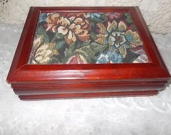 Tapestry Jewelry Box , Wood Jewelry box, Jewelry Box, Tapestry, Dresser Decor, Storage, Ring Holder, Organization, wooden tapestry box  :)s