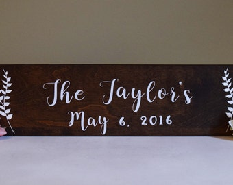 Last Name Rustic Sign- Wedding Date Woodland Sign- Wedding Gift Wood Sign - Established Family Custom Decor Sign - Fireplace Mantle Sign