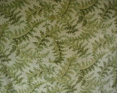 Vintage Duvet Cover with 2 Matching Pillow Shams, Twin Bed Size, Naturalistic Fern Print, Shades of Green