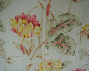 Vintage Bed Sheet Set, Twin Bed Size, 1 Flat Sheet, 3 Matching Pillowslips, Tropical Print,  Pastel Floral Print, 100% Cotton Fabric