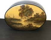 Vintage Lacquer Box Landscape Scene Black Gold and Red Trinket Box