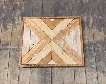 "Reclaimed Wood Wall Art 13""x 11"" Natural Lath"