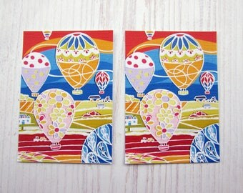 ACEO papercut art print hot air balloons over countryside