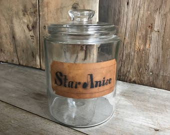 Antique General Store Jar, Lidded Glass Storage Jar, Historical Original Label,  Country Farmhouse, Star Anise