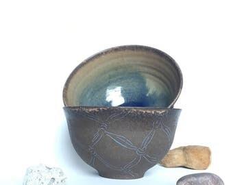 Set of Two Nautical Theme Bowls // Wheel Thrown Dark Clay Unglazed Pottery // Blue and Mocha